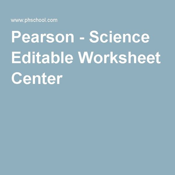 Pearson Editable Worksheets - Synhoff