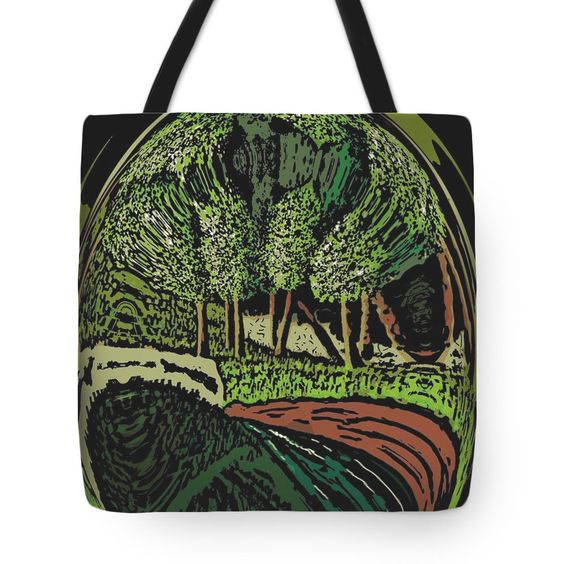 Tote Bag, Abstract green forest, image on both sides, straps for shoulders, by JewelryLair on Etsy