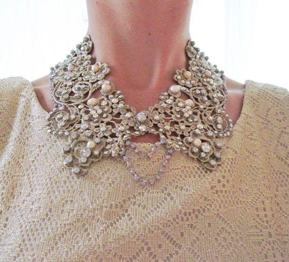 EXAMPLE - Collar necklace - swarovski embelleshed lace collar, statement necklace, bridal necklace, freshwater pearls.  via Etsy.