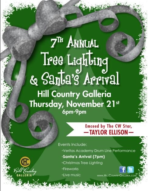 Stop by Cielo Apartment Homes kiosk on 11/21/2013 for free goodies, live music, the Hill Country Galleria's annual tree lighting. This event starts early in the day, w/ the super fun stuff starting at 6:00 P.M.