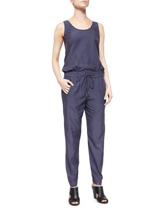 Sleeveless+Drawstring+Poplin+Jumpsuit+by+Vince+at+Neiman+Marcus.