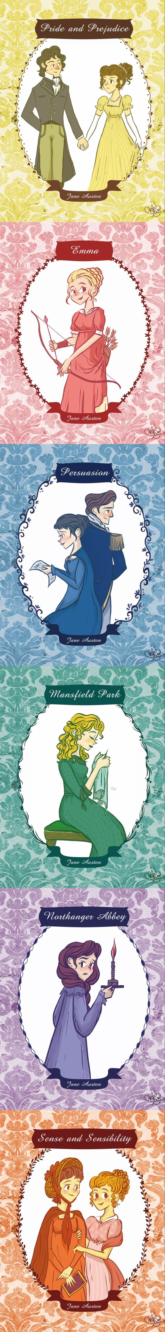 Illustrations for Jane Austen's classical novels.  By ChihAriel: