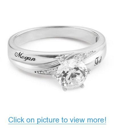 Personalized Platinum Plated Sterling Silver CZ Ring with complimentary Filigree Jewelry Box