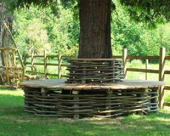 Wattle tree seat of oak and hazel by natural fencing uk for Tree edging border ideas