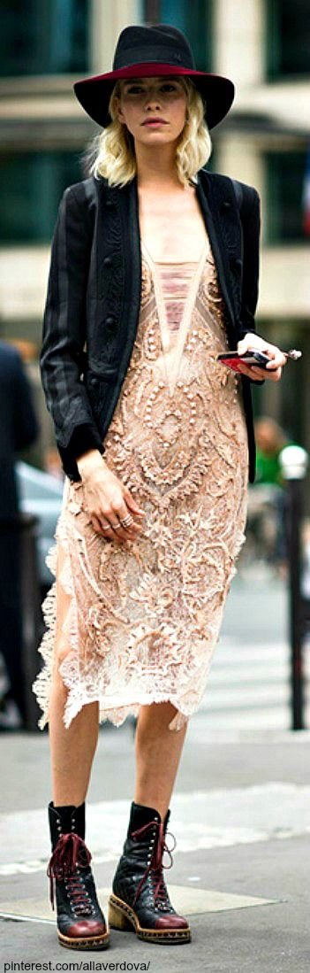 Another great example of street style. I absolutely love the textured lace dress with the scuffed oxblood boots. The jacket is very cute, too. I think the hat a great accessory with those shoes.