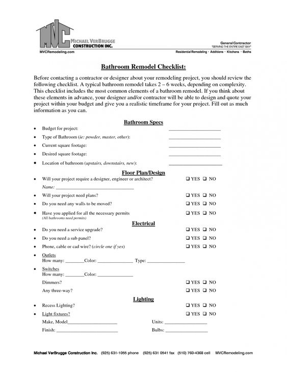 Bathroom Bathroom Remodel Engaging Kitchen Remodel Checklist - construction materials list template