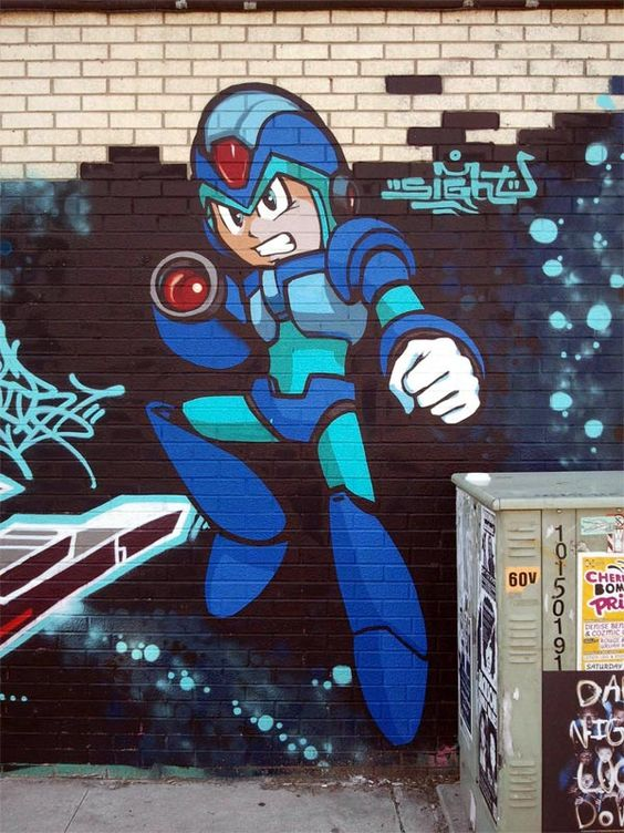 Megaman Street Art Wall is Spray Paint Made Video Gamer