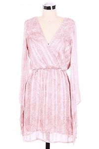 Surplice Cinched Waist Dress Featuring Bell Sleeves and Pattern Print NWT