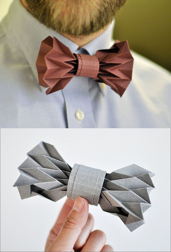 This creative bow tie is made from carefully and artfully folded paper.: