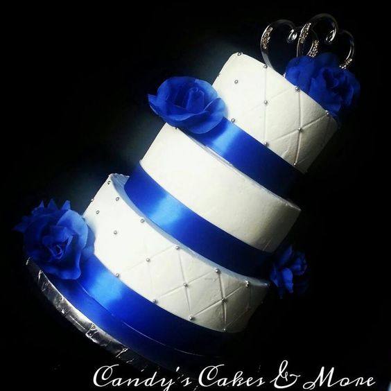 Old school Royal blue wedding cake, all buttercream with edible silver pearls