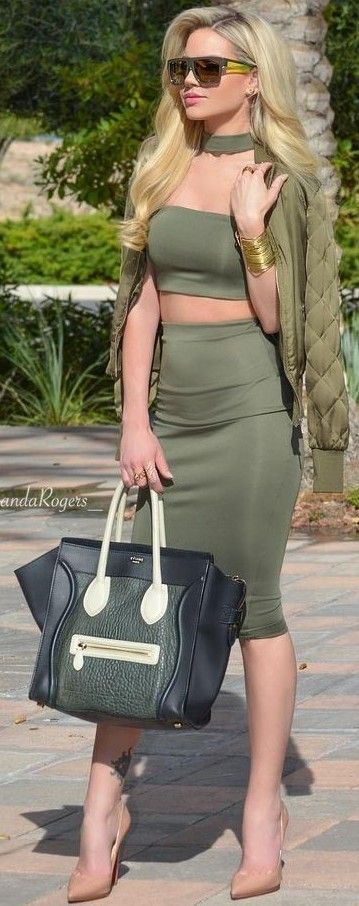 Shades Of Green Choker, Bomber Jacket, Crop Top, Midi Skirt, Nude Heels: