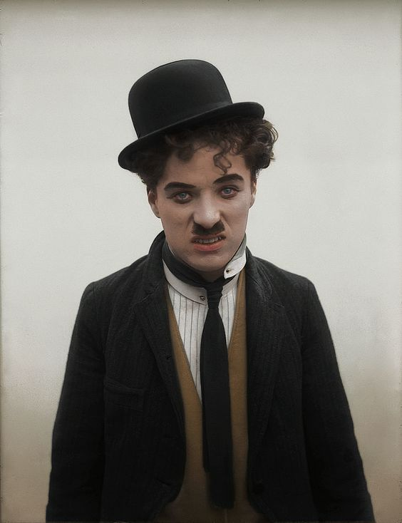 chaplinfortheages: c0lorvintage: Silent film actor Charlie Chaplin c. 1910s Original (x) Time for a reblog of this fantastic colorized photograph. Only about a year ago the black and white was discovered (see link attached). During his Keystone period of 1914.
