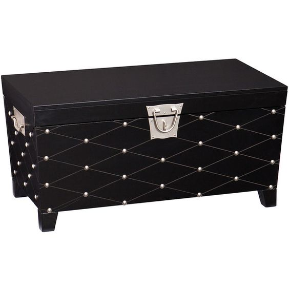 Cambridge Trunk Cocktail Table (¥36,730) ❤ liked on Polyvore featuring home, furniture, tables, accent tables, black trunk, black storage trunk, nailhead furniture, black storage table and storage trunk coffee table