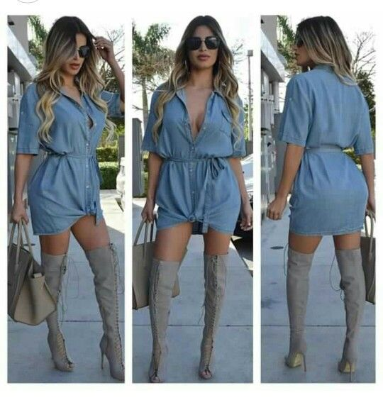 Omg denim dress and lace up boots