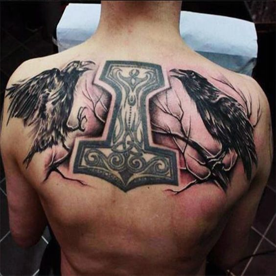 Huginn and Muninn - Odin's Twin Ravens tattoo