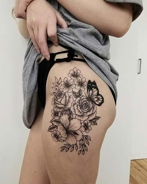 7 Floral Thight Tattoo Idea 13 Beautiful Flower Tattoos For