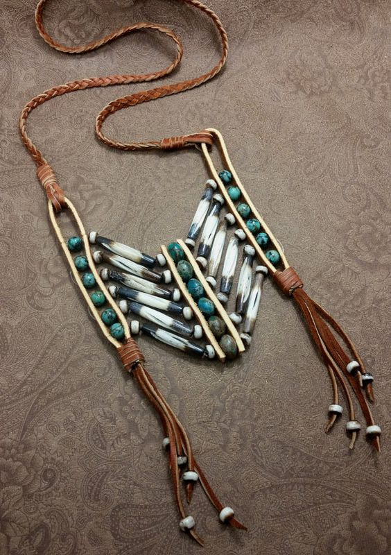 tribal breastplate necklace, festival jewelry, native american breastplate, leather necklace