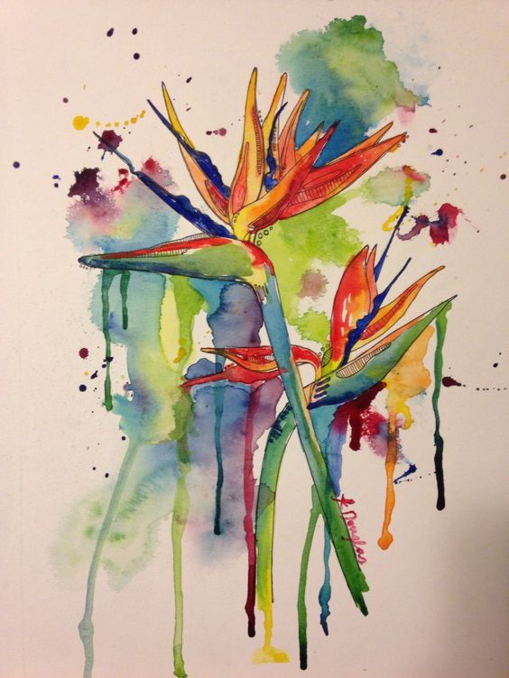 Birds of Paradise- Giclee Print on watercolor paper. 8x10 print.  by KristinDouglasART on Etsy