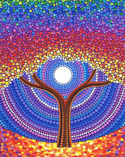 La vida secreta de los árboles by Elspeth McLean.Técnica de puntillismo.Precioso!!!