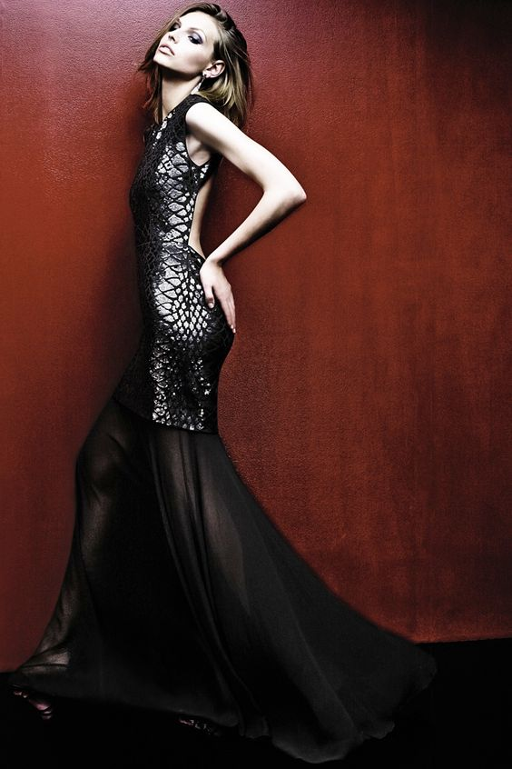 When the sun goes down, cast a spell in luxe evening gowns by BCBGMAXAZRIA.