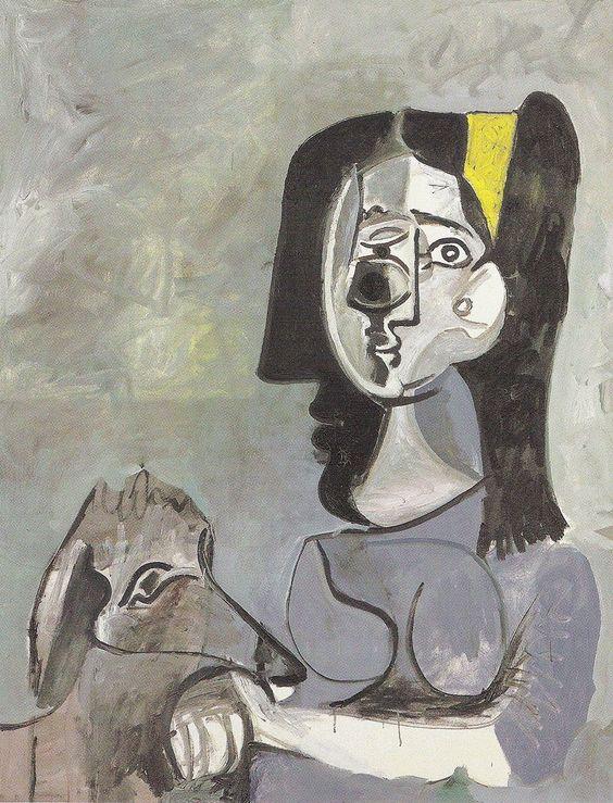 Pablo Picasso (1881 – 1973) Jacqueline con una cinta amarilla (Año 1961 - 1962) es un óleo sobre lienzo, de dimensiones 116 cm. x 89 cm. Pertenece a la Colección Picasso, Mougins (Francia).