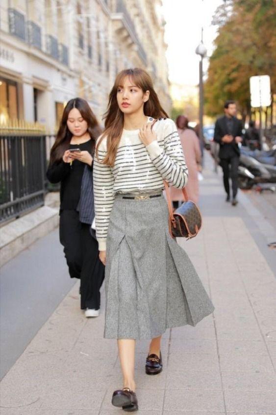 Pleated Grey Long Skirt Lisa Blackpink K Fashion At