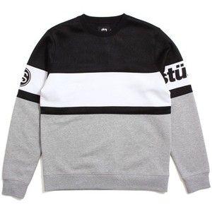 Stussy Track Crewneck Sweatshirt Black White