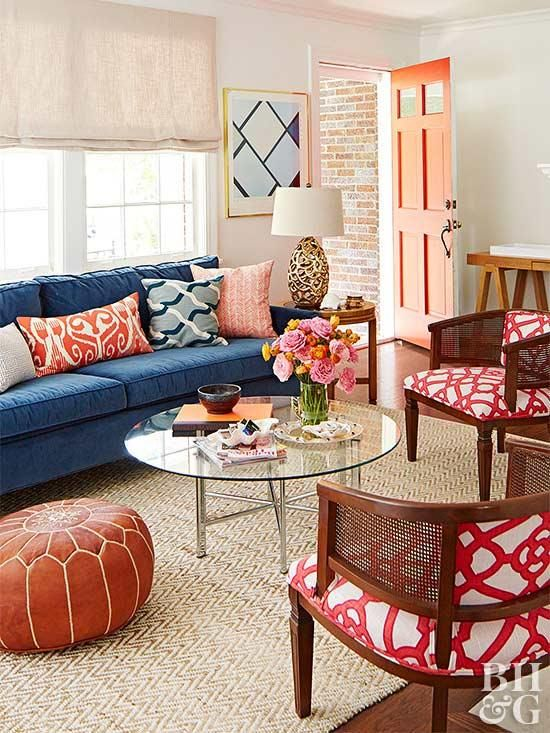 20 Gorgeous Complementary Color Schemes Blue Sofas Living Room Blue Couch Living Room Living Room Color Schemes