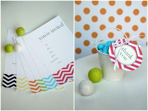 printable chevron invitations & favor tags via the tomcat studio