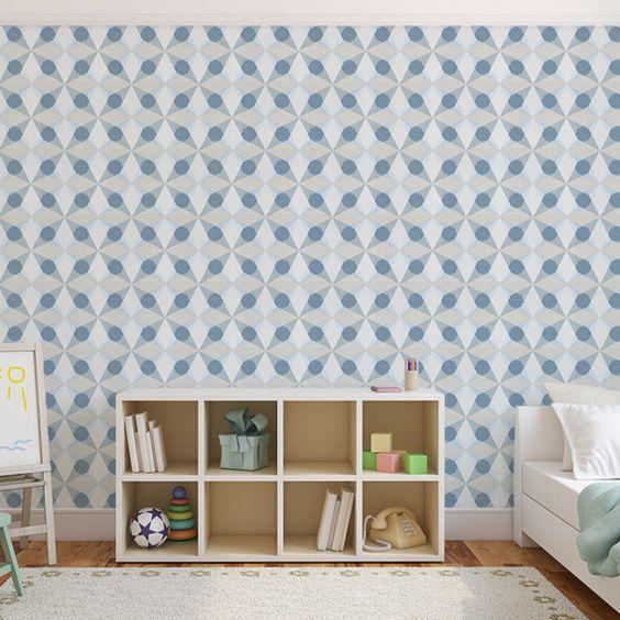 papier peint gomtrique bleu cube star jocelyn warner au fil des couleurs - Papier Peint Bleu Geometrique