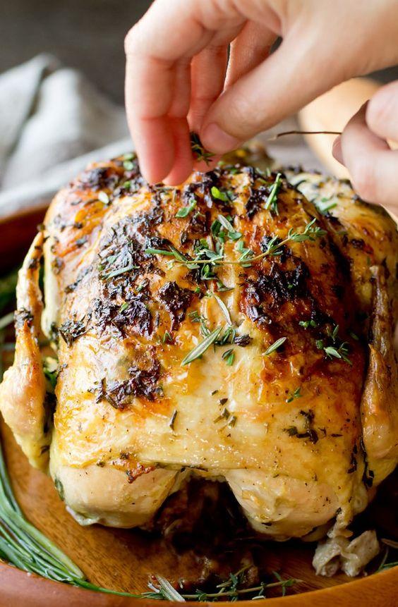 Garlic Herb Butter Roasted Chicken - thegourmetgourmand.com:
