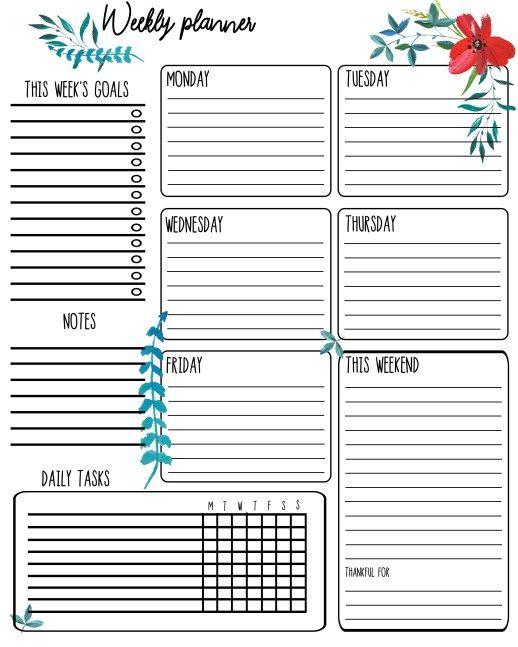Free Printable Weekly Planner Yazdirilabilir Haftalik Planlayici Haftalik Planlayici Ucretsiz Planlayici