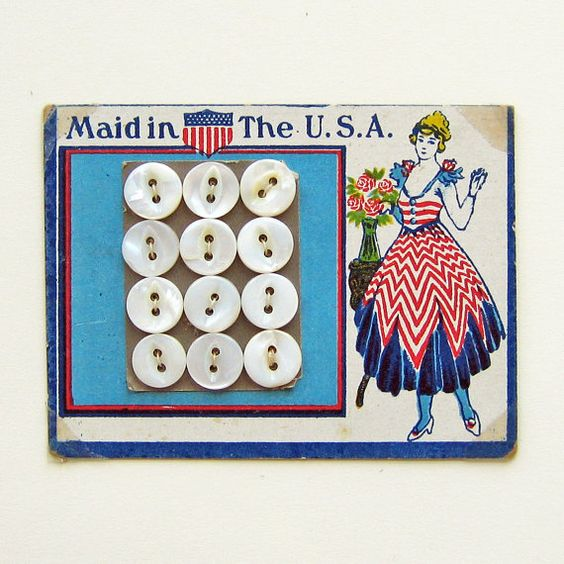 An original card with fabulous patriotic graphics and play on words! Totally charming American Miss in red white & blue gown, colors are vivid and
