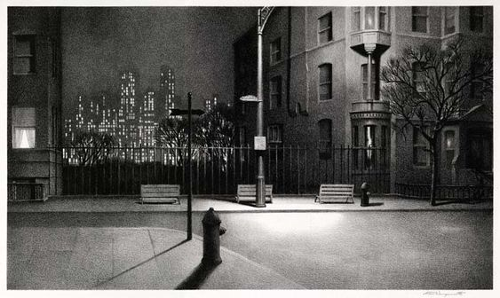 Martin Lewis (American, 1881–1962) 'New York Nocturne'