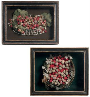 TWO ENGLISH STRAWBERRY BASKET FELT-WORK PICTURES