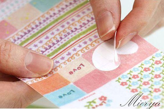 Baumwolle Stoff Pickerl  Deco Sticker  Tagebuch von mieryaw auf Etsy, $2.50