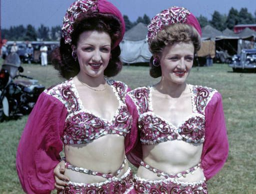 Wire Walker Sisters ::(Left to right) Yette and Helen Wallenda, sisters, close-up in high wire act wardrobe. State Fair Park lot. August 19. 1945. Milwaukee,WI