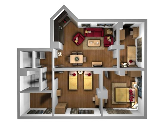 interior plan houses Birdseye 3D Furniture Layout Orpheus
