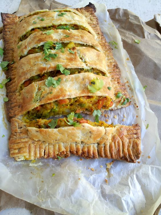 """Loaded """"Spicy"""" Veggie Pie with Cumin scented Dough is perfect #meatless meal that is filling and so delicious! NaiveCookCooks.com use egg substitute"""