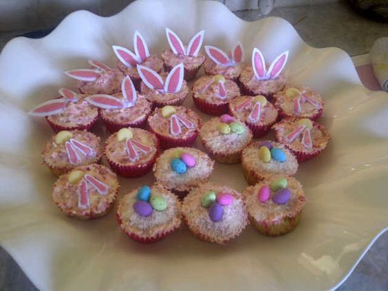 Easter Cupcakes - White chocolate cupcakes with raspberry marscapone icing...
