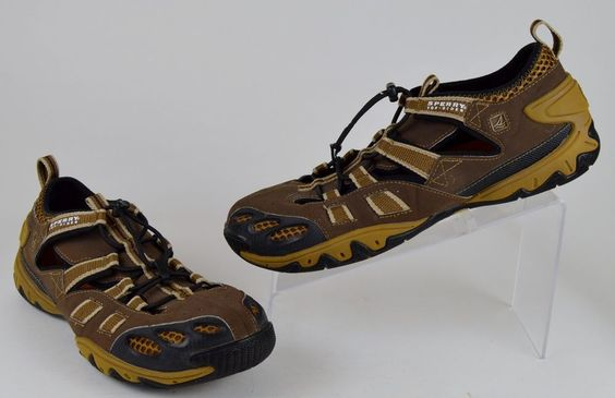 Sperry Top Sider Son-R Men's Water Shoes Size 10 M Brown Leather Bungee Cord #SperryTopSider #SportSandals
