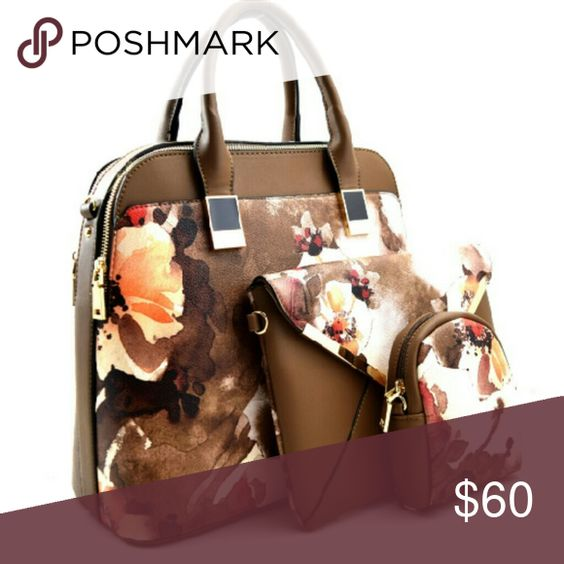 3 Piece Floral Purse Set - Brown Faux-leather  Matching clutch & pouch included Bags Satchels