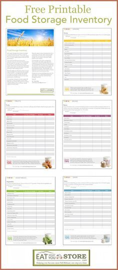 Printable Food Storage Inventory -how much food storage do I need - free inventory sheets to print