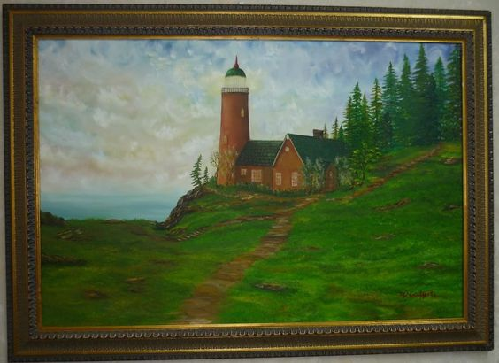 original oil painting Lighthouse Landscape signed by Artist N McCafferty 24x36  250.00 http://www.ebay.com/itm/original-oil-painting-Lighthouse-Landscape-signed-by-Artist-N-McCafferty-24x36-/331508388591?