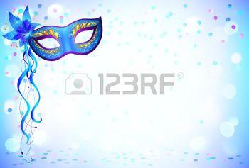 masque carnaval: Bleu masque de carnaval et de confettis fond clair Illustration
