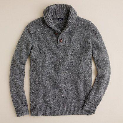 Donegal wool shawl-collar henley/