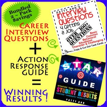 $AVE with this AWESOME 2 Pack Bundle for preparing for a job interview. Included:  (1) Interview Questions 4 Getting a Job~  > Includes way over 100+ Questions  (2) STAR Target GUIDE is a Guided Lesson Plan. STAR is an acronym that stands for *Situation * Task * Action * Result.  The STAR Target GUIDE includes lots of thinker activities to integrate Job Interviewing questions. This complementary 2 pack is not only POPULAR but a must have for teaching teens about job preparation.