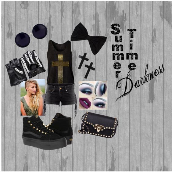 Summer Time Darkness by jaxx-korzo-zakeel AKA Justin on Polyvore featuring Vans, Valentino and PINK BOW