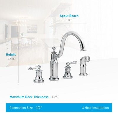 Moen S712 High Arc Kitchen Faucet With Side Spray From The Waterhill Collection Chrome No Finish Products In 2019 Faucet Oil Rubbed Bronze Chrome