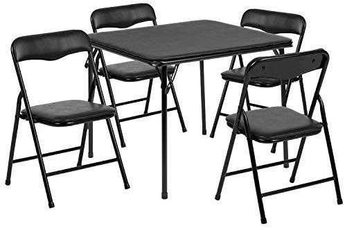 Amazon Com Flash Furniture Kids Black 5 Piece Folding Table And Chair Set Kitchen Dining Table And Chairs Table And Chair Sets Card Table And Chairs
